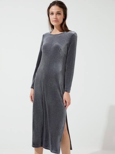 Бархатное платье-миди с разрезами - фото 2