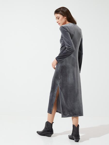 Бархатное платье-миди с разрезами - фото 4