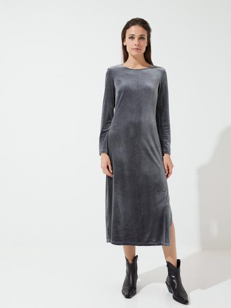 Бархатное платье-миди с разрезами - фото 5