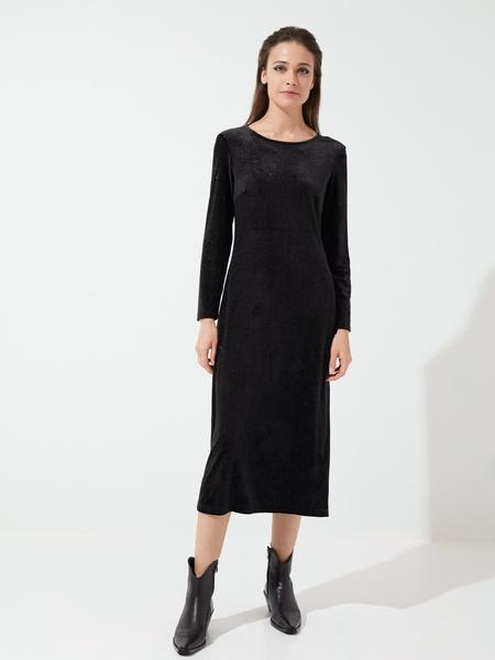 Бархатное платье-миди с разрезами - фото 3
