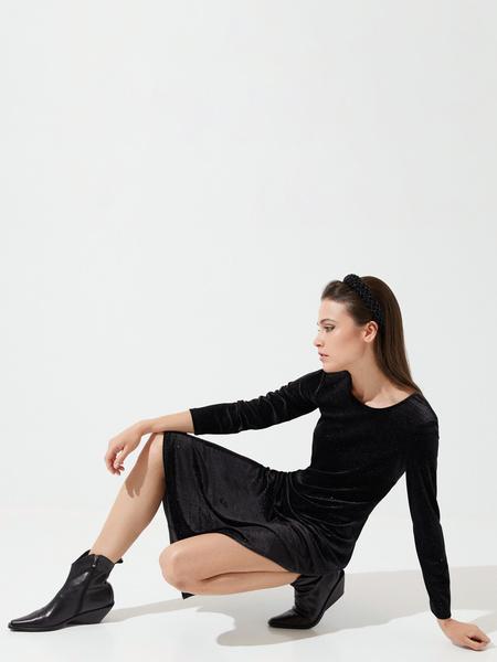 Бархатное платье-миди с разрезами - фото 7