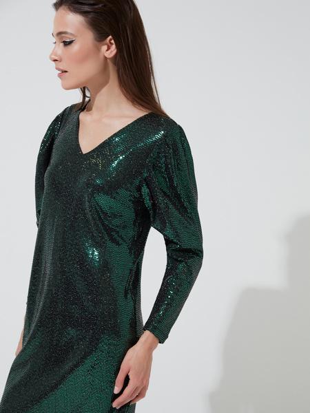 Платье-мини с V-образным вырезом - фото 2