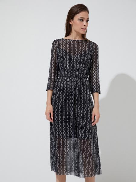 Сетчатое платье-миди с пайетками - фото 1