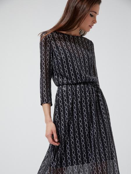 Сетчатое платье-миди с пайетками - фото 2