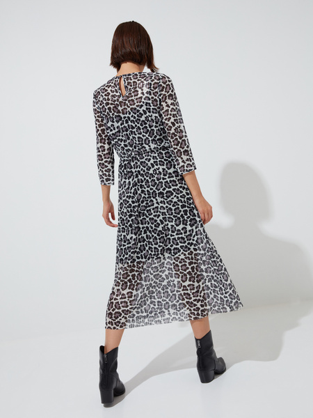 Сетчатое платье-миди с пайетками - фото 5