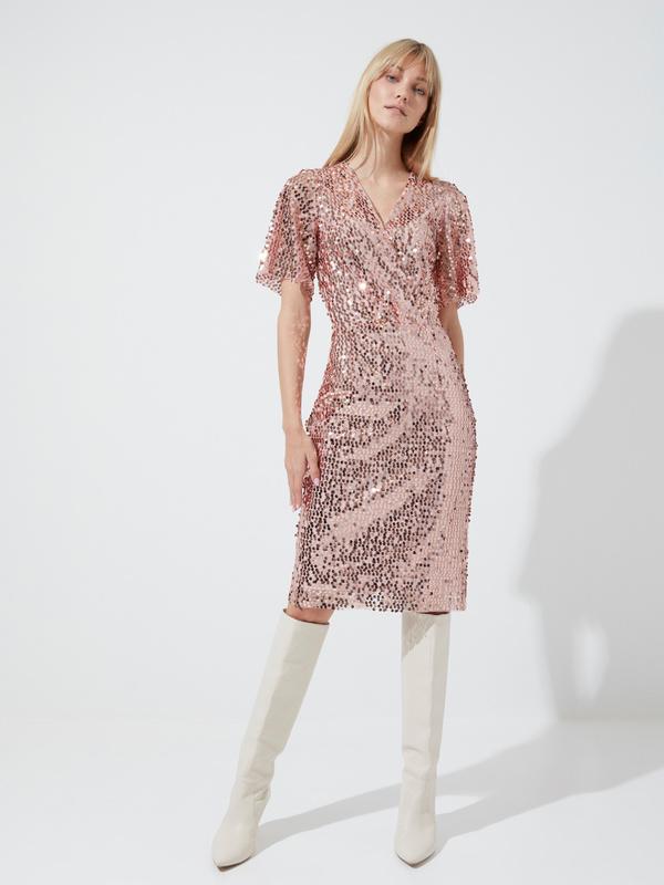 Платье-миди с пайетками и рукавами клеш - фото 4