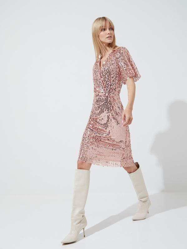 Платье-миди с пайетками и рукавами клеш - фото 5