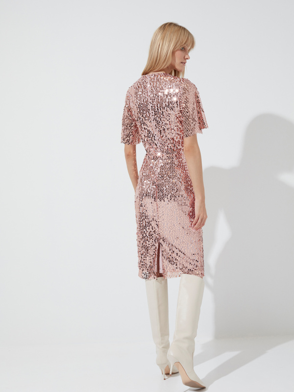 Платье-миди с пайетками и рукавами клеш - фото 6