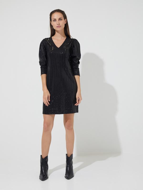 Платье-мини с рукавами фонариками - фото 1