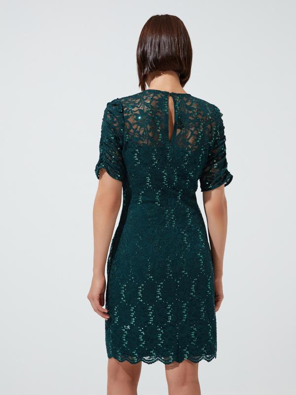 Кружевное платье-мини - фото 5