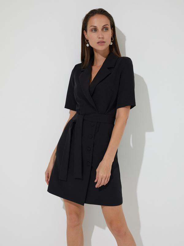 Платье-пиджак с поясом - фото 1