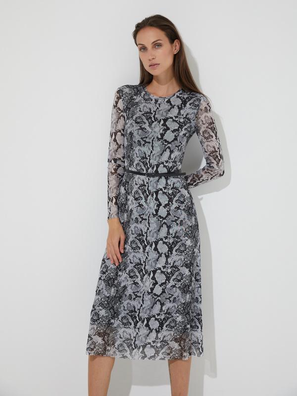 Сетчатое платье-миди с ремешком - фото 1