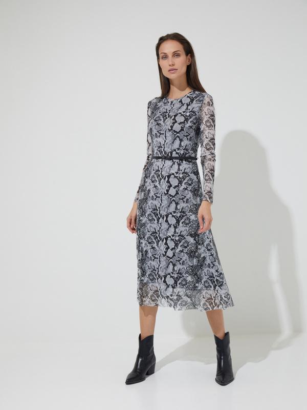Сетчатое платье-миди с ремешком - фото 3