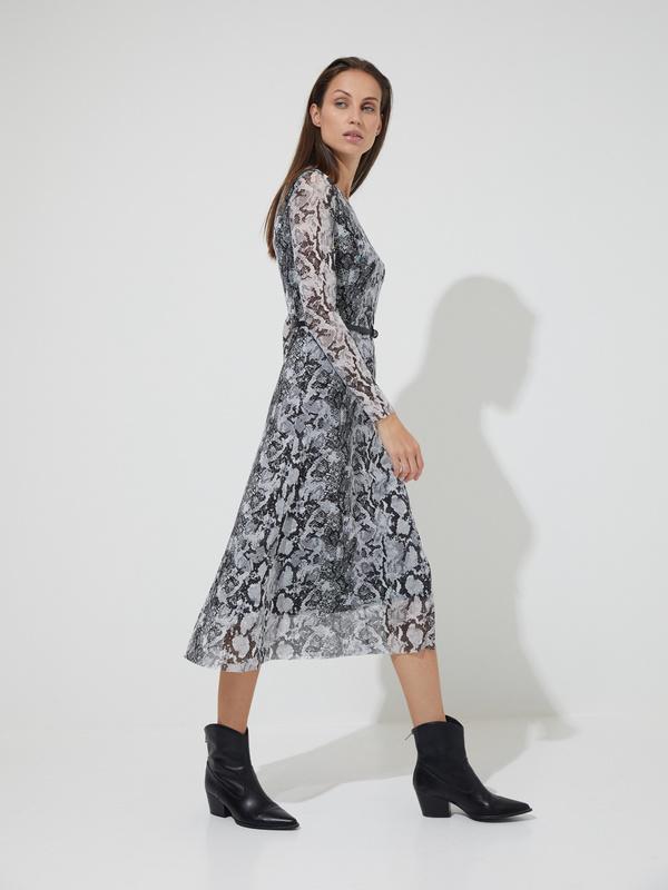 Сетчатое платье-миди с ремешком - фото 4