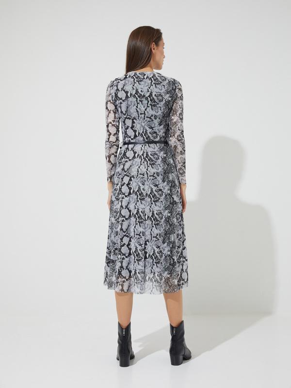 Сетчатое платье-миди с ремешком - фото 5