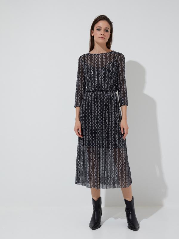 Сетчатое платье-миди с пайетками - фото 3