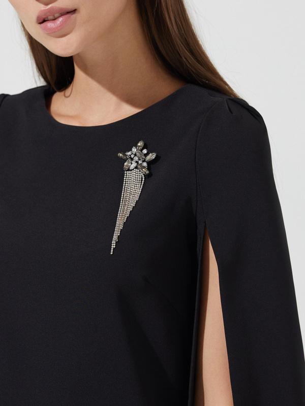 Платье-мини с прорезными рукавами - фото 2