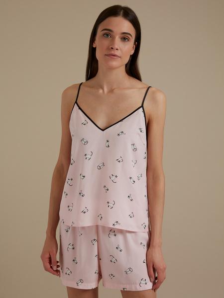 Пижама с принтом (топ+шорты) - фото 1