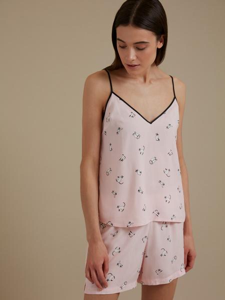 Пижама с принтом (топ+шорты) - фото 2