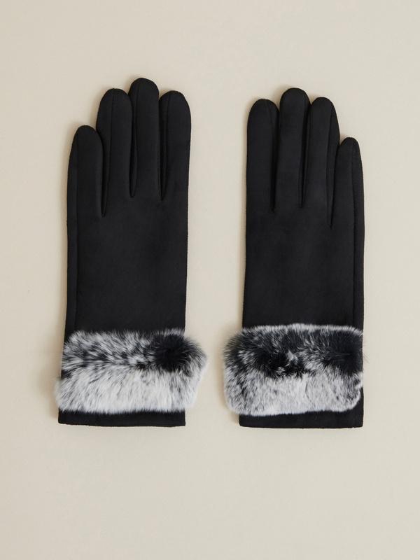 Перчатки имитация замши - фото 1