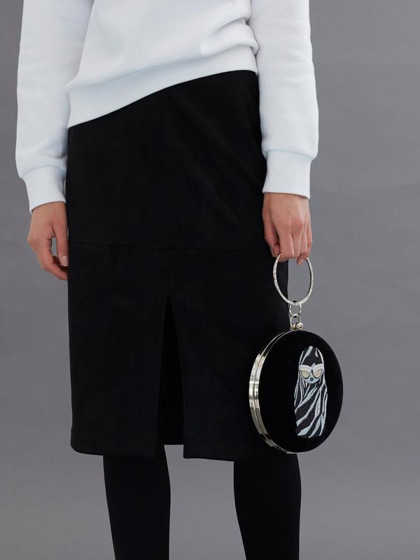 Круглая бархатная мини-сумка - фото 1